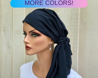 Pre-Tied Head Scarf For Women With Hair Loss. Cancer Headwear, Chemo Head Cover, Alopecia Hat, Head Wrap, Turban,  Navy Blue