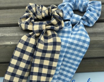 Scrunchies Pack, Gift For Daughter, Blue Plaid Hair Scrunchies