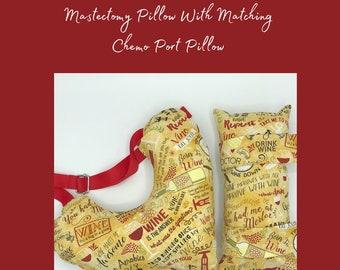 Wine Print Mastectomy Pillow, Seatbelt Pillow, Post Mastectomy, Thinking Of You Gift,