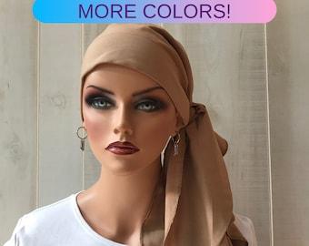 Pre-Tied Head Scarf For Women With Hair Loss. Cancer Headwear, Chemo Head Cover, Alopecia Hat, Head Wrap, Turban, Cancer Gift, Khaki
