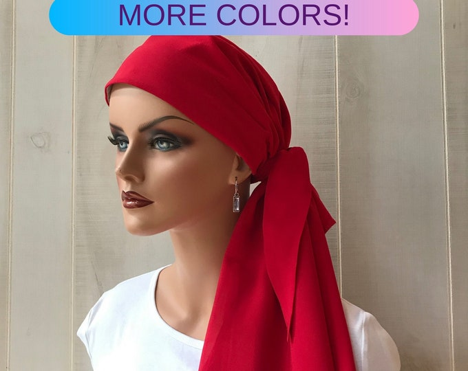 Featured listing image: Pre-Tied Head Scarf For Women With Hair Loss. Cancer Headwear, Chemo Head Cover, Alopecia Hat, Head Wrap, Turban, Cancer Gift, Red