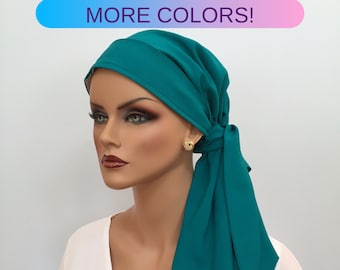 Pre-Tied Head Scarf For Women With Hair Loss. Cancer Headwear, Chemo Head Cover, Alopecia Hat, Head Wrap, Turban, Cancer Gift, Teal Green