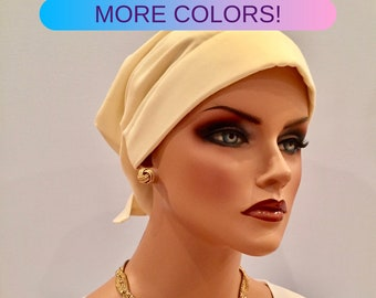 Head Scarf For Women With Hair Loss. Cancer Headwear, Chemo Hat, Alopecia Head Wrap, Head Cover, Turban, Cancer Gift, Pale Yellow