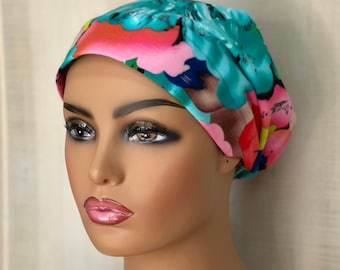 Floral Print Head Scarf For Women With Hairloss, Cancer Gifts, Tropical Flower Head Wrap