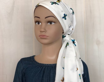 Chemo Hat For Girls With Hair Loss, Childhood Cancer, Gift For Daughter, Butterfly Head Wrap