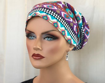 Cancer Head Scarf For Women With Hair Loss, Cancer Gifts, Southwestern Chemo Hats