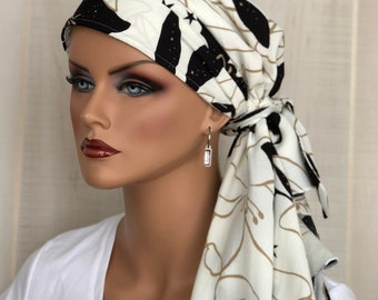 Chemo Head Wrap For Women With Hair Loss, Cancer Gifts, Black And White Floral Head Scarf