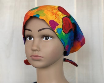 Children's Head Scarf For Girls With Hair Loss, Gift For Daughter, Chemo Hat, Rainbow Hearts