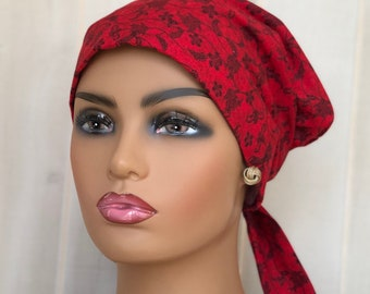 Christmas Scrub Hats For Women, Gift For Doctor, Surgical Cap Women, Red Floral