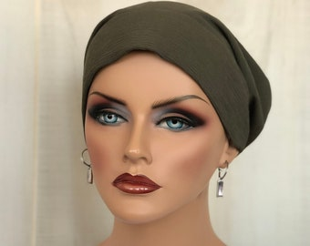 Fall Head Scarf For Women With Hair Loss, Olive Green, Chemo Headwear, Cancer Gifts,