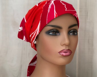 Red Floral Chemo Head Wrap For Women With Hair Loss, Breast Cancer Gifts