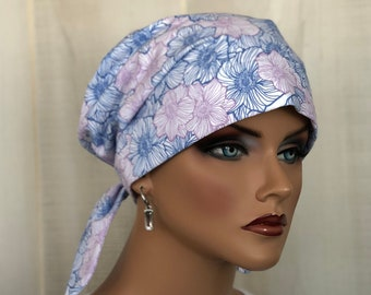 Women's Scrub Caps, Nurse Gift, Scrub Hats,  Blue Pink Floral