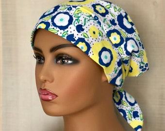 Spring Scrub Caps For Women, Nurse Graduation Gift, Blue And Yellow Floral Scrub Hats
