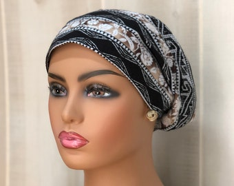 Fall Head Scarf For Women With Hair Loss, Gift For Mom, Chemo Headwear, Southwestern Beiges