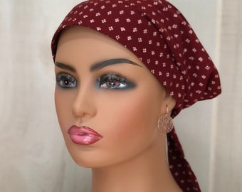 Fall Head Scarf For Women With Hair Loss, Breast Cancer Gifts, Rust Chemo Head Wrap