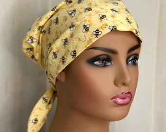 Spring Scrub Caps For Women, Nurse Graduation Gift, Yellow Honey Bee Scrub Hats