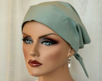 Chemo Head Wrap For Women With Hair Loss, Cancer Gifts, Sage Green Head Scarf