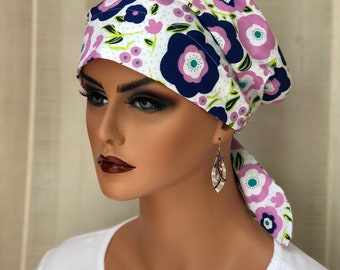 Scrub Caps For Women, Nurse Gift,  Scrub Hats, Pink Blue Floral
