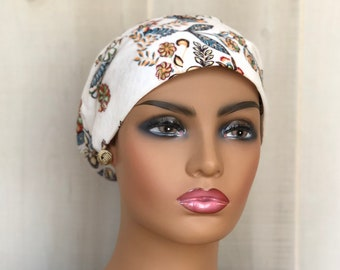 Autumn Head Scarf For Women With Hair Loss, Gift For Mom, Chemo Headwear, Boho Flowers