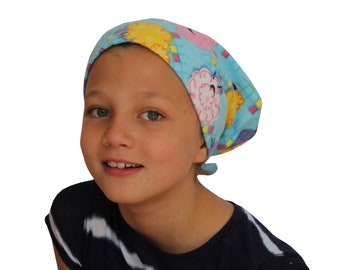 Children's Flannel Head Scarf, Girl's Cancer Headwear, Chemo Hat, Alopecia Head Cover, Head Wrap, Cancer Gift, Hair Loss Gift, Blue Sheep