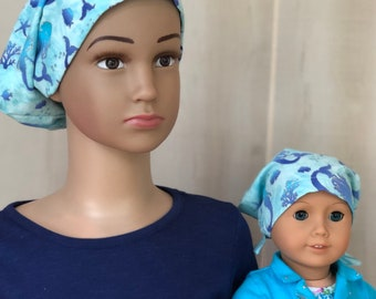Mermaids Chemo Hat For Girls With Hair Loss, Matching Doll Hat, Childhood Cancer, Cancer Gifts,