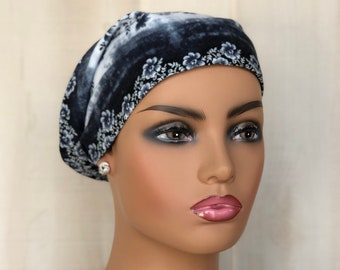 Boho Head Scarf For Women With Hair Loss, Cancer Gifts, Chemo Headwear. Blue Denim Floral