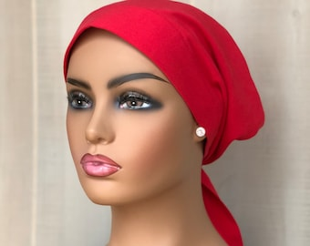Christmas Head Scarf For Women With Hair Loss, Cancer Gifts, Chemo Headwear, Red