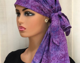 Pre-Tied Head Scarf For Women With Hair Loss, Breast Cancer Gifts, Head Wrap, Purple Ferns