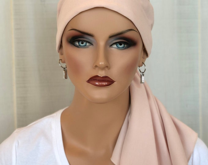 Featured listing image: Head Scarf For Women With Hair Loss, Breast Cancer Gifts, Light Pink Head Wrap