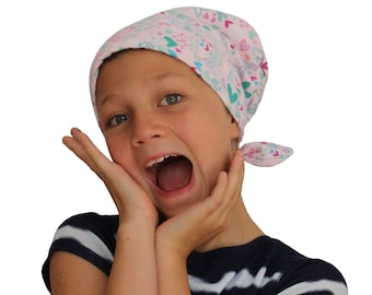 Jaye Children's Flannel Head Scarf, Girl's Cancer Hat, Chemo Head Cover, Alopecia Hat, Head Wrap, Cancer Gift, Hair Loss  - Heart Scribbles