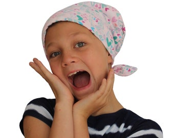 Children's Flannel Hat For Girls With Hair Loss, Childhood Cancer, Cancer Gifts, Chemo Hats, Ages 2 - 10