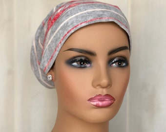 Head Scarf For Women With Hair Loss, Cancer Gifts, Chemo Headwear, Gray Red Stripes