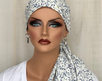 Pre-Tied Spring Head Scarf For Women With HairLoss, Cancer Gifts, Sapphire Blue And White HeadWrap