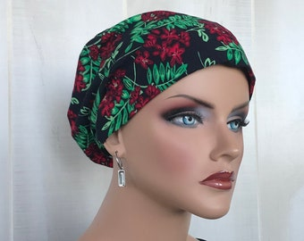 Christmas Head Scarf For Women With Hair Loss. Cancer Gifts, Chemo Headwear, Mistletoe