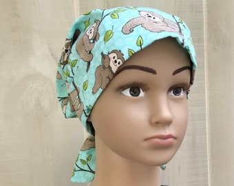 Children's Head Scarf For Girls With Hair Loss, Gift For Daughter, Chemo Hat, Turquoise Sloth