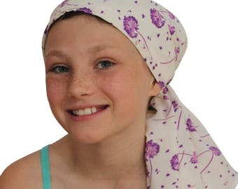 Ava Joy Children's Pre-Tied Head Scarf, Girl's Cancer Headwear, Chemo Head Cover, Alopecia Hat, Head Wrap for Hair Loss - Purple Wishes