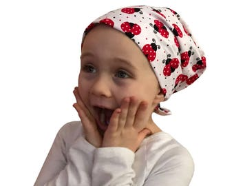 Mia Children's Head Cover, Girl's Cancer Hat, Chemo Scarf, Alopecia Headwear, Head Wrap, Cancer Gift for Hair Loss - Large Ladybugs