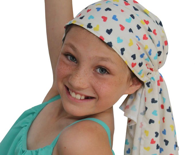 Featured listing image: Ava Joy Children's Pre-Tied Head Scarf, Girl's Cancer Headwear, Chemo Head Cover, Alopecia Hat, Head Wrap Hair Loss Colorful Hearts