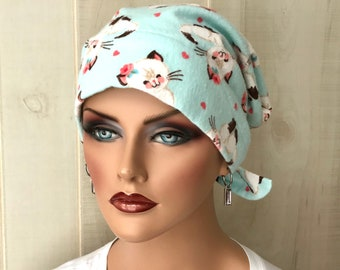Flannel Hat For Women With Hair Loss, Chemo Headwear, Kittens, Breast Cancer Gifts For Her
