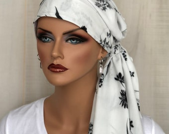 Pre-Tied Floral Head Scarf For Women With HairLoss, Breast Cancer Gifts, Black And White Floral HeadWrap