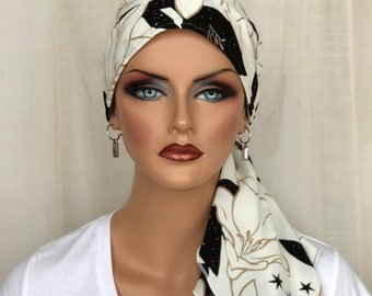 Pre-Tied Head Scarf For Women With HairLoss, Cancer Gifts, Black And White Floral HeadWrap