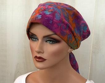 Tie Dye Head Scarf For Women With Hair Loss, Cancer Gifts, Chemo Headwear, Purple Tie Dye