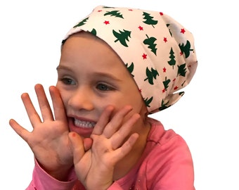Mia Children's Head Scarf, Girl's Chemo Hat, Cancer Head Cover, Alopecia Headwear, Head Wrap, Cancer Gift for Hair Loss, Christmas Trees