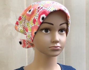 Kid's Flannel Hat For Girls With Hair Loss, Childhood Cancer, Cancer Gifts, Chemo Hats, Ages 2 - 10