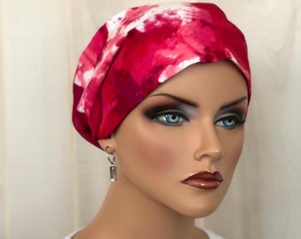 Head Scarf For Women With Hair Loss. Cancer Headwear, Chemo Hat, Alopecia Head Wrap, Hair Wrap, Head Cover, Turban, Pink Red Floral