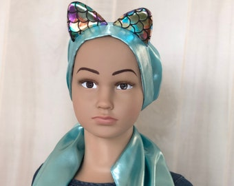 Pre-Tied Head Scarf For Girls, Halloween Costume, Chemo Headwear, Alopecia, Cancer Gifts, Blue Mermaid Kitten