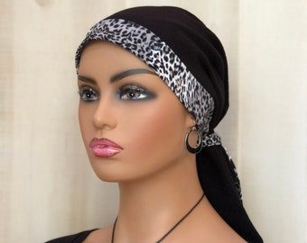 Animal Print Pre-Tied Head Scarf For Women With Hair Loss, Cancer Gifts, Head Wrap, Black With Leopard Band