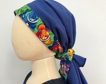 Brandy Girl's Pre-Tied Head Scarf,  Cancer Hat, Chemo Head Cover, Alopecia Headwear, Head Wrap, Cancer Gift  Hair Loss Blue Clown Fish