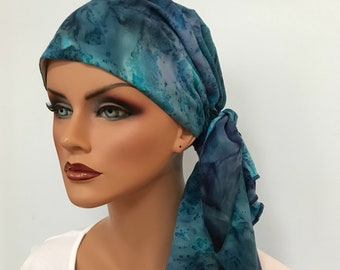 Jessica Pre-Tied Head Scarf - Women's Cancer Scarf, Chemo Hat, Alopecia Head Wrap, Head Cover, Hair Loss, Cancer Gift Blue Burst Tie Dye