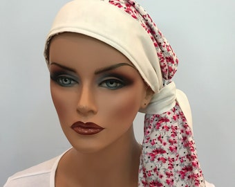 Carlee Pre-Tied Head Scarf - A Women's Cancer Headwear, Chemo Scarf, Alopecia Hat, Head Wrap, Head Cover for Hair Loss  Pink Heather Flowers